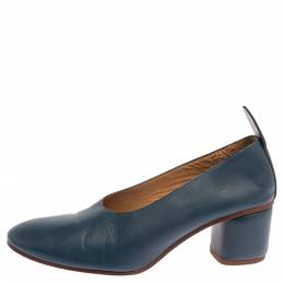 Joseph Blue Leather Block Heel Pumps Size 38.5 340032
