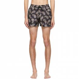 Salvatore Ferragamo Navy Paisley Swim Shorts 142262 0735667