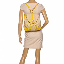 Furla Beige/Yellow Signature Canvas and Leather Flap Backpack 335755