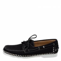 Christian Louboutin Black Suede Steckel Spike Boat Loafers Size 42 335787