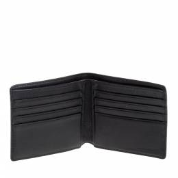 Burberry Navy Blue/Black Check Coated Canvas Bill Bifold Wallet 335644
