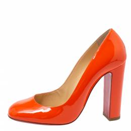 Christian Louboutin Orange Patent Leather Square Toe Pumps Size 38 335808