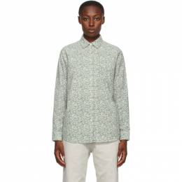 Stussy Off-White and Grey Flannel Printed Shirt 211194