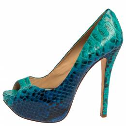 Alexandre Birman Two Tone Blue Python Peep Toe Platform Pumps Size 40.5 336186