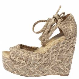 Hermes Beige Leather, Suede and Canvas Epice Tresse Espadrille Wedge Sandals Size 40 336181