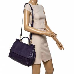 Dolce and Gabbana Purple Leather Large Miss Sicily Top Handle Bag 339447