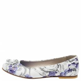 Roberto Cavalli Multicolor Printed Leather Embellished Ballet Flats Size 35 340701