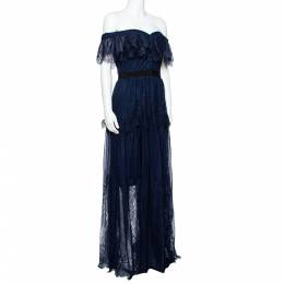 Self-Portrait Navy Blue Lace Ruffled Maxi Dress M 340325