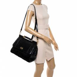 Dolce and Gabbana Black Python and Calfhair Large Miss Sicily Top Handle Bag 335963