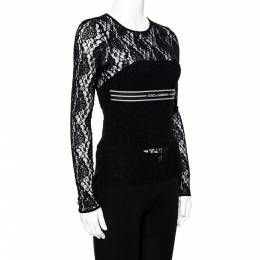 Dolce and Gabbana Black Lace Logo Band Trim Top S 340319