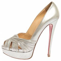 Christian Louboutin Silver Leather Criss Cross Peep Toe Platform Pumps Size 39 336166