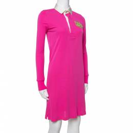 Ralph Lauren Pink Jersey Logo Crest Detail Polo Dress XS 336159