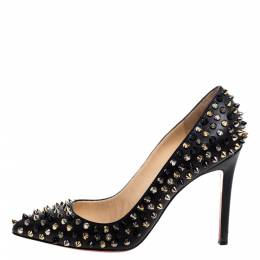 Christian Louboutin Black Leather Spike Pigalle Pumps Size 38 340744