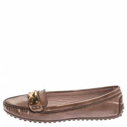 Louis Vuitton Metallic Brown Patent Leather Penny Loafers Size 37 336047