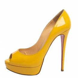 Christian Louboutin Yellow Patent Leather Lady Peep Toe Platform Pumps Size 40.5 341099