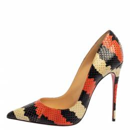 Christian Louboutin Tri Color Python Leather So Kate Pointed Toe Pumps Size 39.5 341056