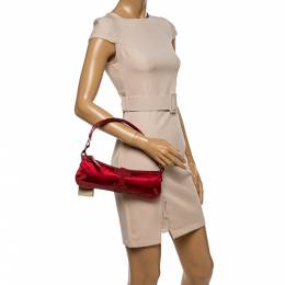 Burberry Red Satin and Lizard Pochette Bag 337780