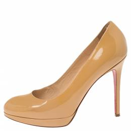 Christian Louboutin Cream Patent Leather New Simple Platform Pumps Size 38.5 341111