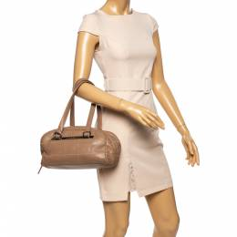 Chanel Nude Beige Square Quilted Caviar Leather LAX Bowler Bag 339155