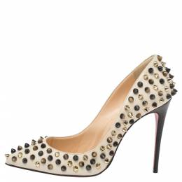 Christian Louboutin Cream Leather Follies Spikes Pumps Size 35 340990