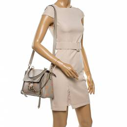 Chloe beige Leather Small Embroidered Faye Day Shoulder Bag 336526