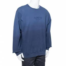 Supreme Navy Blue Dipped Cotton Crew Neck Sweatshirt XL 331709