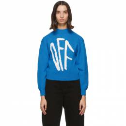 Off-White Blue Graffiti Sweater OWHE017F20KNI0014501
