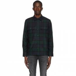 Nudie Jeans Navy and Green Wool Sten Blackwatch Shirt 140668