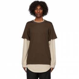Mastermind World Brown and Beige Layered Long Sleeve T-Shirt MW20S05-TS035-018