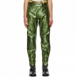 Dries Van Noten Green Leather Metallic Zip Trousers 21812-1144-606