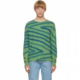 Eckhaus Latta Green and Blue Lapped Long Sleeve T-Shirt 302-EL-AW20-DS
