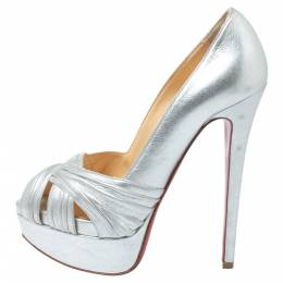 Christian Louboutin Silver Leather Criss Cross Peep Toe Platform Pumps Size 35.5 341526