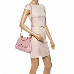 Dolce and Gabbana Pink Leather Medium Miss Sicily Top Handle Bag 340115