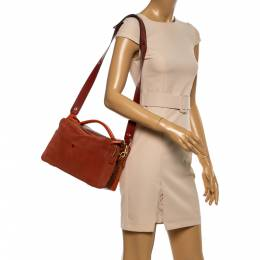 Anya Hindmarch Orange Leather, Suede and Python The Stack Shoulder Bag 341395