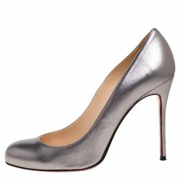 Christian Louboutin Silver Leather Simple Pumps Size 39.5 341385
