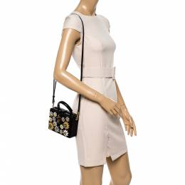Dolce and Gabbana Black Lizard Embossed Leather and Fabric Crystal Embellished Dolce Box Top Handle Bag 341472