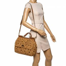 Dolce and Gabbana Brown Crochet Raffia and Leather Large Miss Sicily Top Handle Bag 339762