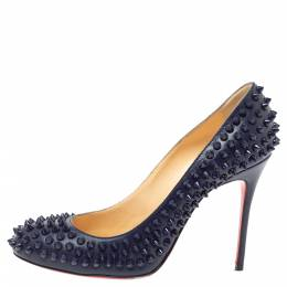 Christian Louboutin Blue Leather Fifi Spike Pumps Size 38.5 340321