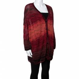 M Missoni Red Wavy Textured Knit Button Front Cardigan M 340661