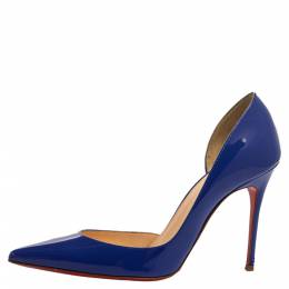 Christian Louboutin Blue Patent Leather Iriza D'orsay Pointed Toe Pumps Size 35.5 340846