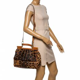 Dolce and Gabbana Brown Leopard Print Coated Canvas and Leather Large Miss Sicily Top Handle Bag 340991