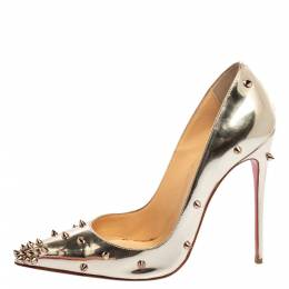 Christian Louboutin Metallic Silver Leather Degraspike Pumps Size 38.5 347220