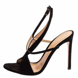 Gianvito Rossi Black Suede Criss Cross Ankle strap Sandals Size 38 347137