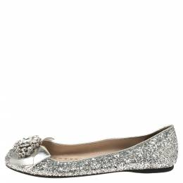Miu Miu Silver Glitters and Leather Ballet Flats Size 37.5 346860