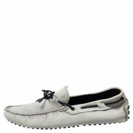Tod's Grey Leather Bow Slip On Loafers Size 43 341549