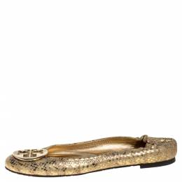 Tory Burch Metallic Gold Snakeskin Effect Leather Minnie Scrunch Ballet Flats Size 41 346852