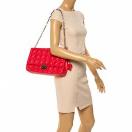 Dior Crimson Red Cannage Leather Large Miss Dior Flap Bag 347216