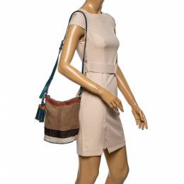 Burberry Teal/Beige House Check Canvas and Leather Mini Ashby Tassel Shoulder Bag 340745