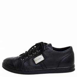 Dolce and Gabbana Black Leather Low Top Sneakers Size 37 347163