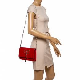 Valentino Rouge Leather Small Vcase Shoulder Bag 354753